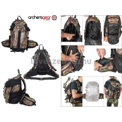 Maximal Hunt Camo vadászhátizsák fegyver hordozóval és esővédő takaróval